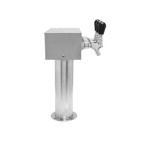 Beer Tower 3 Tap American T-Box, 3 Inch Pedestal, Glycol