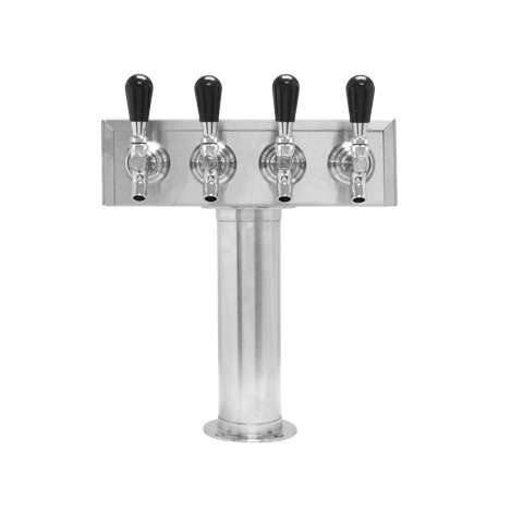 Beer Tower 4 Tap American T-Box, 3 Inch Pedestal, Glycol