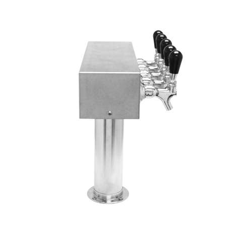 Beer Tower 5 Tap American T-Box, 3 Inch Pedestal, Glycol