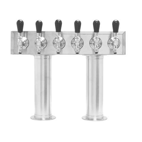 Beer Tower 6 Tap Pass-Thru, 3 Inch Pedestal, Glycol