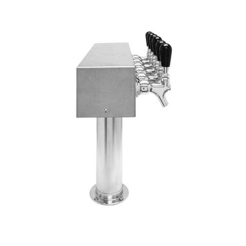 Beer Tower 6 Tap American T-Box, 3 Inch Pedestal, Glycol