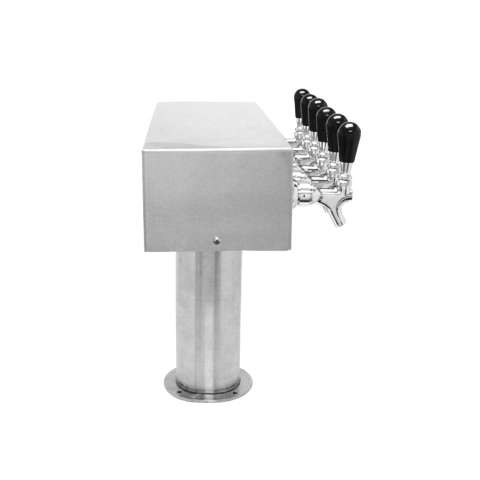 Beer Tower 6 Tap American T-Box, 4 Inch Pedestal, Air