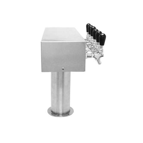 Beer Tower 6 Tap American T-Box, 4 Inch Pedestal, Glycol