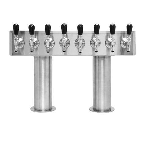 Beer Tower 8 Tap Pass-Thru, 4 Inch Pedestal, Glycol