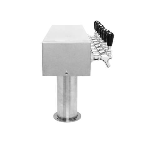 Beer Tower 8 Tap American T-Box, 4 Inch Pedestal, Glycol