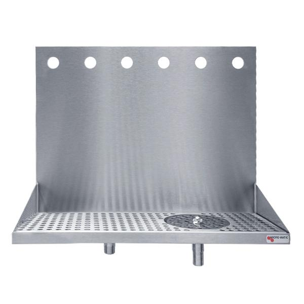 "Beer Drip Tray - 24"" Wall Mount with rinser - 6 Faucet"