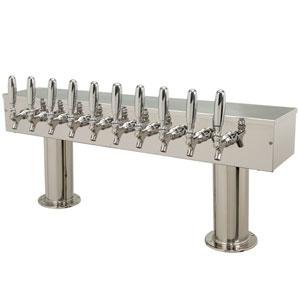 Double Pedestal - 10 Faucets - Polished Stainless Steel - Air Cooled