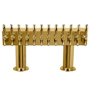 "Double Pedestal - 12 304 Faucets - 3"" Center - PVD Brass - Glycol Cooled"