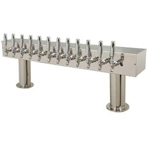 "Double Pedestal - 12 Faucets - 3"" Center - Polished SS"