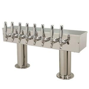 Double Pedestal - 8 Faucets - Polished Stainless Steel - Air Cooled