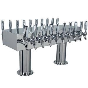 "Image of Double Service Tower - 20 Faucets - 3"" Center -Polished Stainless Steel -Glycol Cooled"