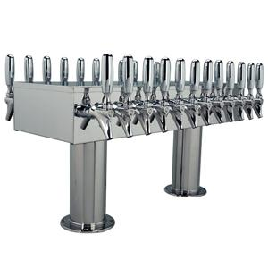 "Double Service Tower - 24 Faucets - 3"" Center - Polished Stainless Steel - Glycol Cooled"