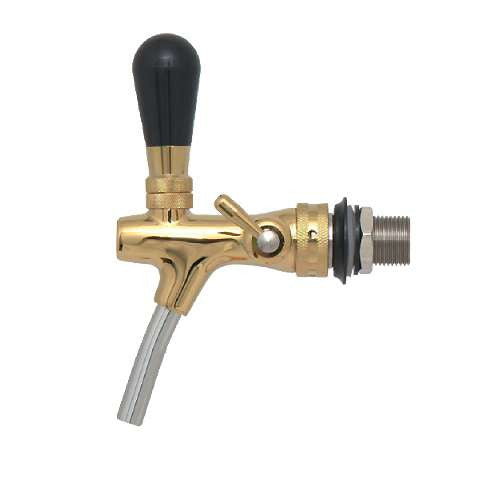 Euro Flow Control Beer Faucet - Gold Plated Brass