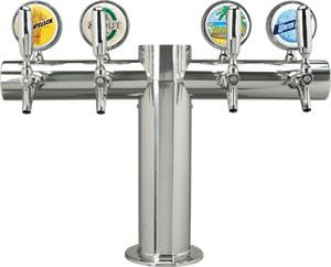 "Metropolis ""T"" - 4 Faucets w/Illuminated Medallions -Polished Stainless- Glycol Cooled"