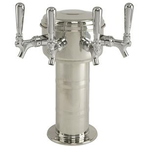 Mini Mushroom Tower - 4 304 Faucets - Polished Stainless Steel - Glycol Cooled