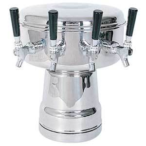 Mushroom Tower - 4 Faucets - Polished Stainless Steel - Air Cooled