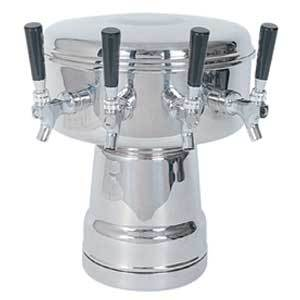 Mushroom Tower - 4 Faucets - Polished Stainless Steel - Glycol Cooled