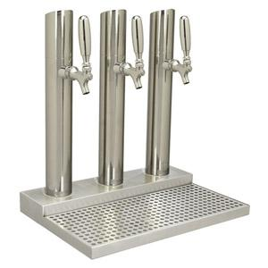 Skyline Tower w/o Rinser, 3 Faucet, Polished Stainless Steel