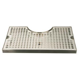 Surface Mount Drip Tray, with Cutout, No Drain, Polished Stainless Steel