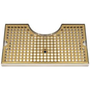 Surface Mount Drip Tray, with Cutout, with Drain, PVD Brass