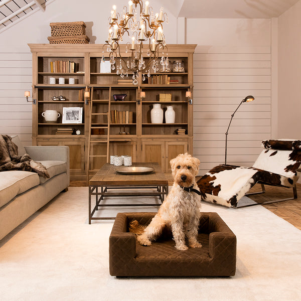 Large Luxury Leather Dog Bed
