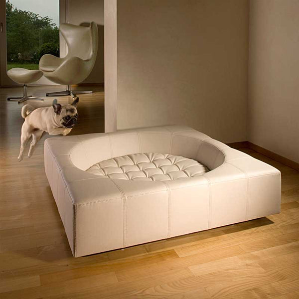Pug with Pet Interiors Luxury Leather Cube Dog Bed