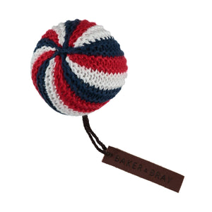 Baker & Bray Dog Toy One Size Baker & Bray | Knitted Ball Dog Squeaky Toy | Navy/Red BB-90-02-02 PetsOwnUs - Pets Own Us