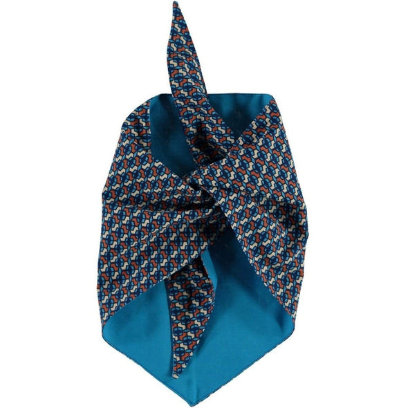 Baker & Bray Dog Apparel Large Cubes Dog Bandana by Baker & Bray - Blue/Rust PetsOwnUs - Pets Own Us