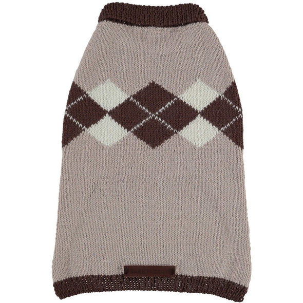 Baker & Bray Dog Apparel Small Knitted Argyle Dog Sweater by Baker & Bray - Cappuccino BB-50-01-01-S PetsOwnUs - Pets Own Us