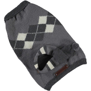 Baker & Bray Dog Apparel Small Knitted Argyle Dog Sweater by Baker & Bray - Graphite BB-50-01-02-S PetsOwnUs - Pets Own Us