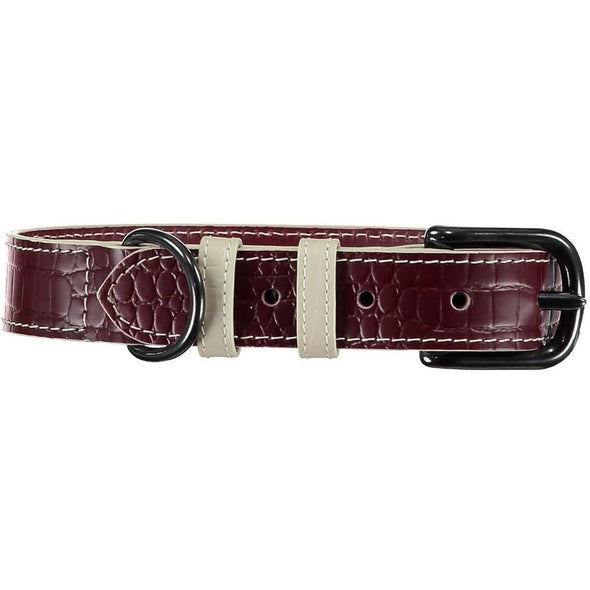 Baker & Bray Dog Apparel X-Small Paris Croc Dog Collar by Baker & Bray - Burgundy/Stone -XS PetsOwnUs - Pets Own Us