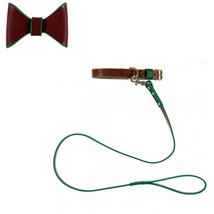 Pimlico Dog Collar, Lead and Bow Tie Set By Baker & Bray - Tan/Gren