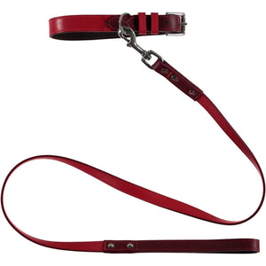 Baker & Bray Dog Apparel X-Small Richmond Dog Collar & Lead Set by Baker & Bray -  Claret/Raspberry BB-41-01-15-XS & BB-52-01-15 PetsOwnUs - Pets Own Us