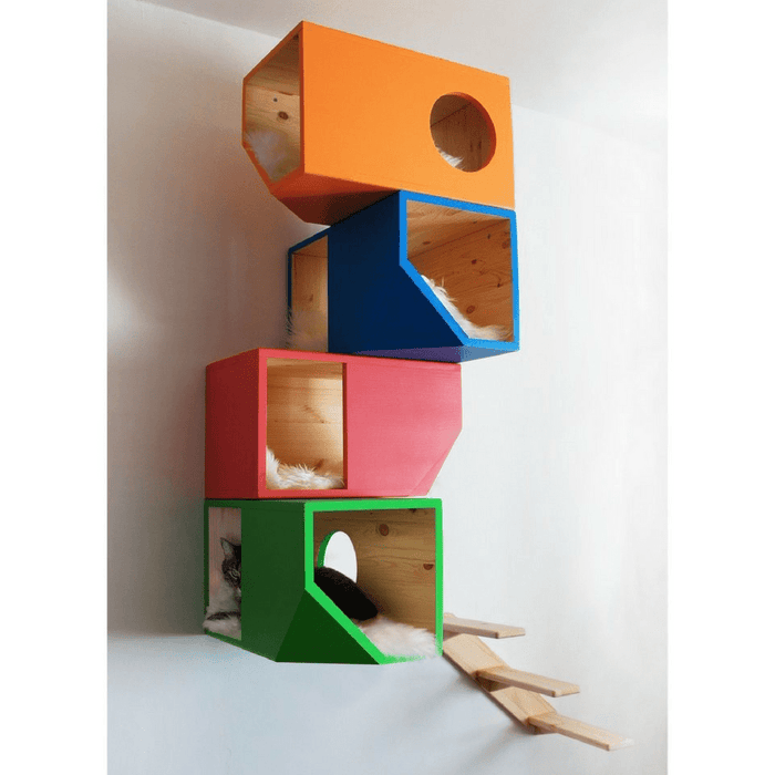 Catissa Climbing Cat Tower and Tree with Stairs - Multicoloured