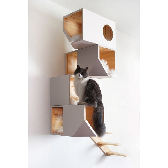 Catissa Climbing Cat Tower and Tree with Stairs - White