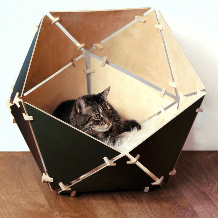 Catissa Contemporary Geobed Cat Cave - Black