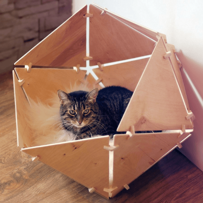 Catissa Contemporary Geobed Cat Cave - Natural