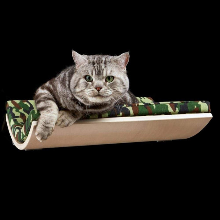 CHILL Cat Shelf & Perch By Cosy and Dozy - Green CAMO & Maple