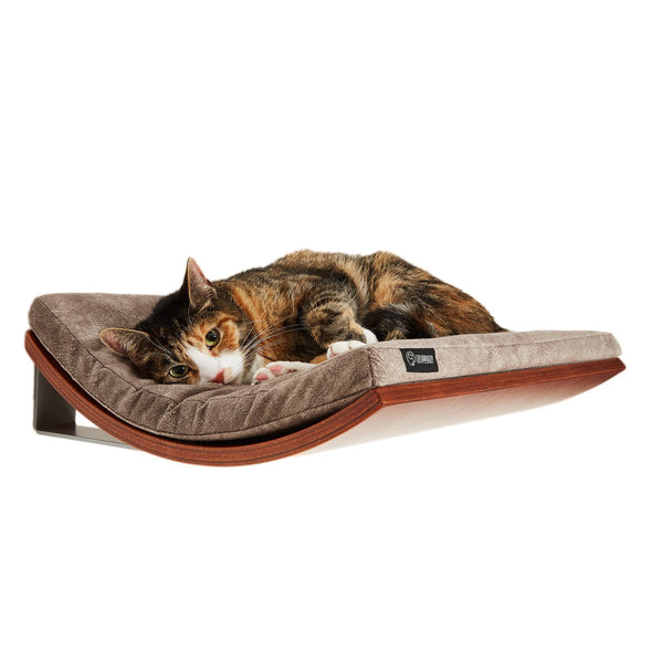 Cosy and Dozy Cat Shelf- Bed Walnut CHILL Cat Shelf & Perch By Cosy and Dozy - Light Brown PetsOwnUs - Pets Own Us