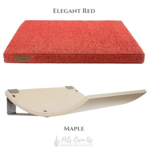 Cosy and Dozy Cat Shelf- Bed Elegant Red CHILL Cat Shelf & Perch By Cosy and Dozy - Maple (Cushions available in Multiple Colours) PetsOwnUs - Pets Own Us