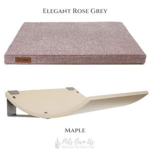 Cosy and Dozy Cat Shelf- Bed Elegant Rose Grey CHILL Cat Shelf & Perch By Cosy and Dozy - Maple (Cushions available in Multiple Colours) PetsOwnUs - Pets Own Us