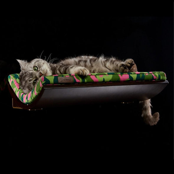 Cosy and Dozy Cat Shelf- Bed CHILL Cat Shelf & Perch By Cosy and Dozy - Pink CAMO & Wenge PetsOwnUs - Pets Own Us