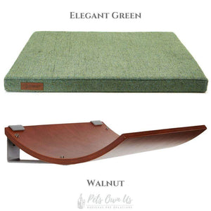 Cosy and Dozy Cat Shelf- Bed Elegant Green CHILL Cat Shelf & Perch By Cosy and Dozy - Walnut (Cushions available in Mutliple Colours) PetsOwnUs - Pets Own Us