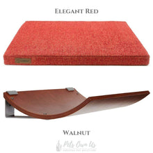 Cosy and Dozy Cat Shelf- Bed Elegant Red CHILL Cat Shelf & Perch By Cosy and Dozy - Walnut (Cushions available in Mutliple Colours) PetsOwnUs - Pets Own Us