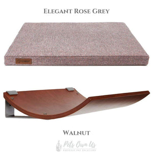 Cosy and Dozy Cat Shelf- Bed Elegant Rose Grey CHILL Cat Shelf & Perch By Cosy and Dozy - Walnut (Cushions available in Mutliple Colours) PetsOwnUs - Pets Own Us
