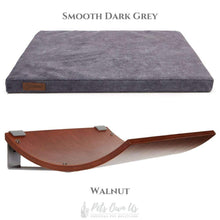 Cosy and Dozy Cat Shelf- Bed Smooth Dark Grey CHILL Cat Shelf & Perch By Cosy and Dozy - Walnut (Cushions available in Mutliple Colours) PetsOwnUs - Pets Own Us