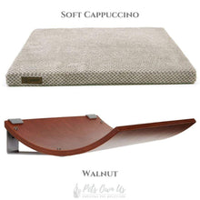 Cosy and Dozy Cat Shelf- Bed Soft Cappuccino CHILL Cat Shelf & Perch By Cosy and Dozy - Walnut (Cushions available in Mutliple Colours) PetsOwnUs - Pets Own Us