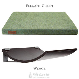 Cosy and Dozy Cat Shelf- Bed Elegant Green CHILL Cat Shelf & Perch By Cosy and Dozy - Wenge (Cushions available in Multiple Colours) PetsOwnUs - Pets Own Us