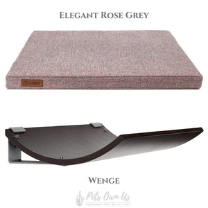 Cosy and Dozy Cat Shelf- Bed Elegant Rose Grey CHILL Cat Shelf & Perch By Cosy and Dozy - Wenge (Cushions available in Multiple Colours) PetsOwnUs - Pets Own Us