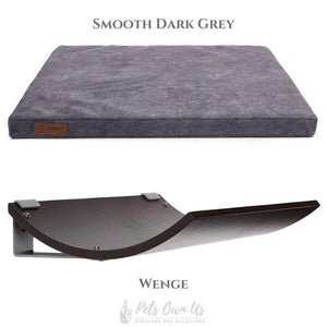 Cosy and Dozy Cat Shelf- Bed Smooth Dark Grey CHILL Cat Shelf & Perch By Cosy and Dozy - Wenge (Cushions available in Multiple Colours) PetsOwnUs - Pets Own Us